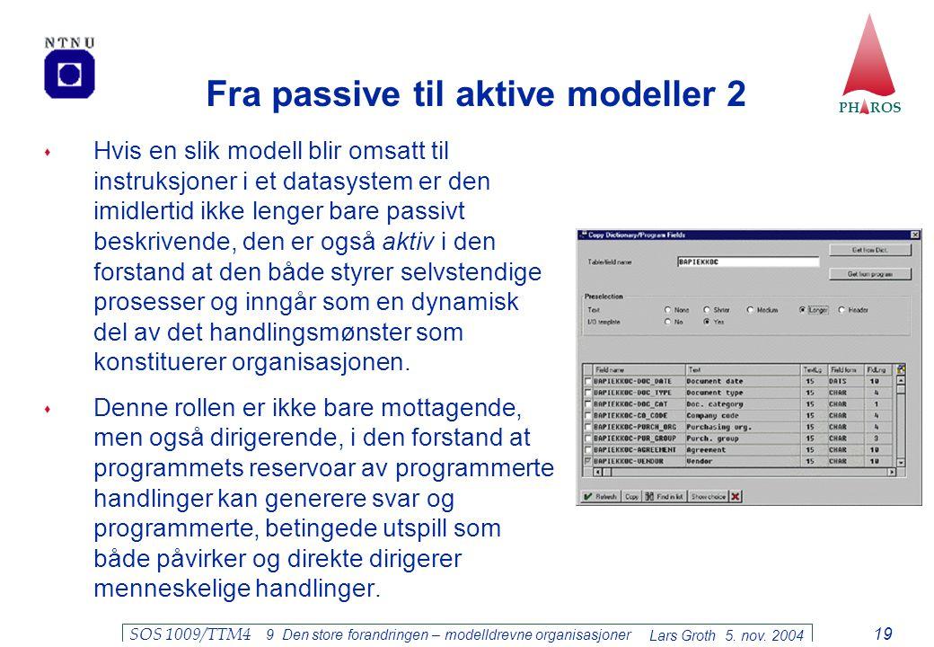PH ROS Lars Groth 5. nov. 2004 SOS 1009/TTM4 9 Den store forandringen – modelldrevne organisasjoner 19 Fra passive til aktive modeller 2  Hvis en sli