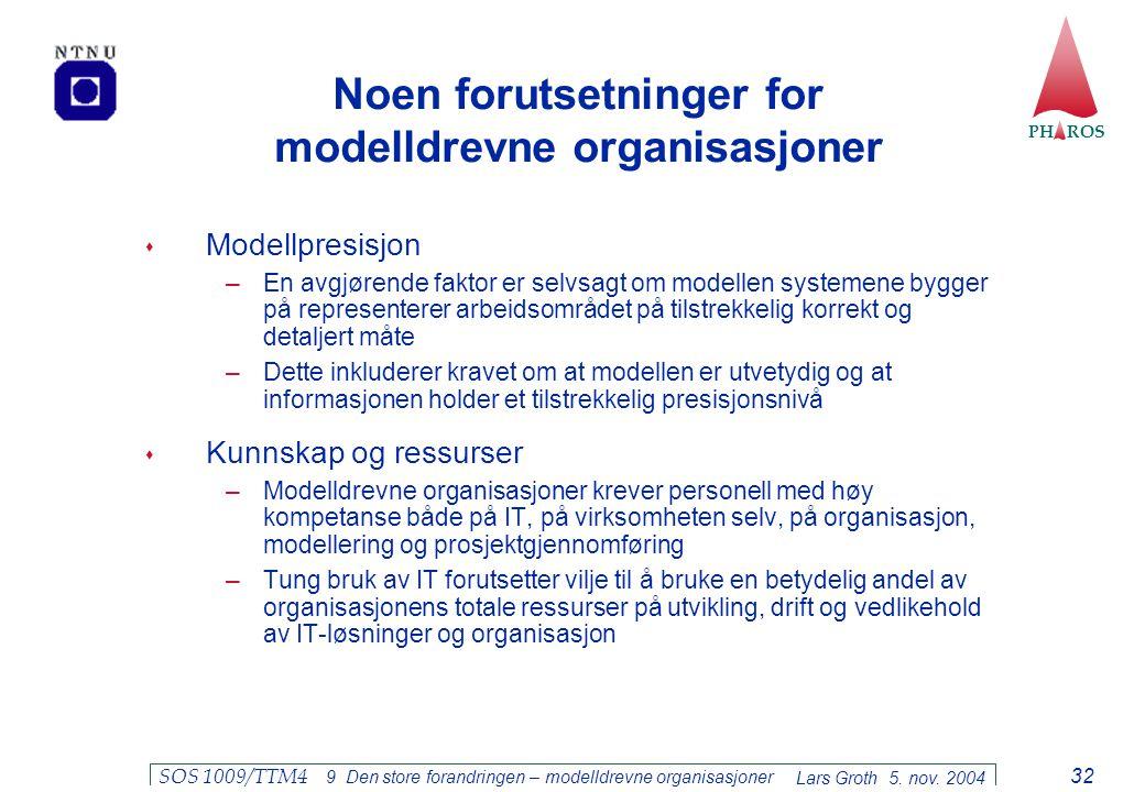 PH ROS Lars Groth 5. nov. 2004 SOS 1009/TTM4 9 Den store forandringen – modelldrevne organisasjoner 32 Noen forutsetninger for modelldrevne organisasj