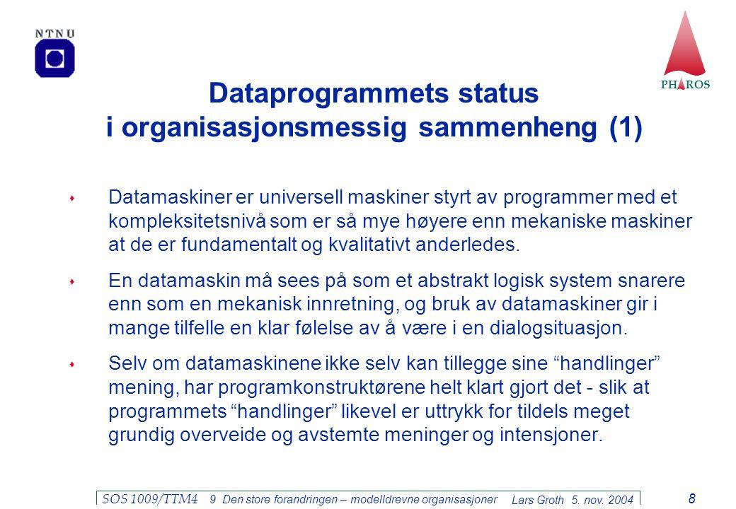 PH ROS Lars Groth 5. nov. 2004 SOS 1009/TTM4 9 Den store forandringen – modelldrevne organisasjoner 8 Dataprogrammets status i organisasjonsmessig sam
