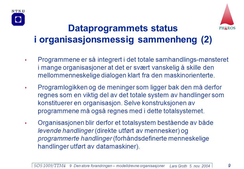 PH ROS Lars Groth 5. nov. 2004 SOS 1009/TTM4 9 Den store forandringen – modelldrevne organisasjoner 9 Dataprogrammets status i organisasjonsmessig sam