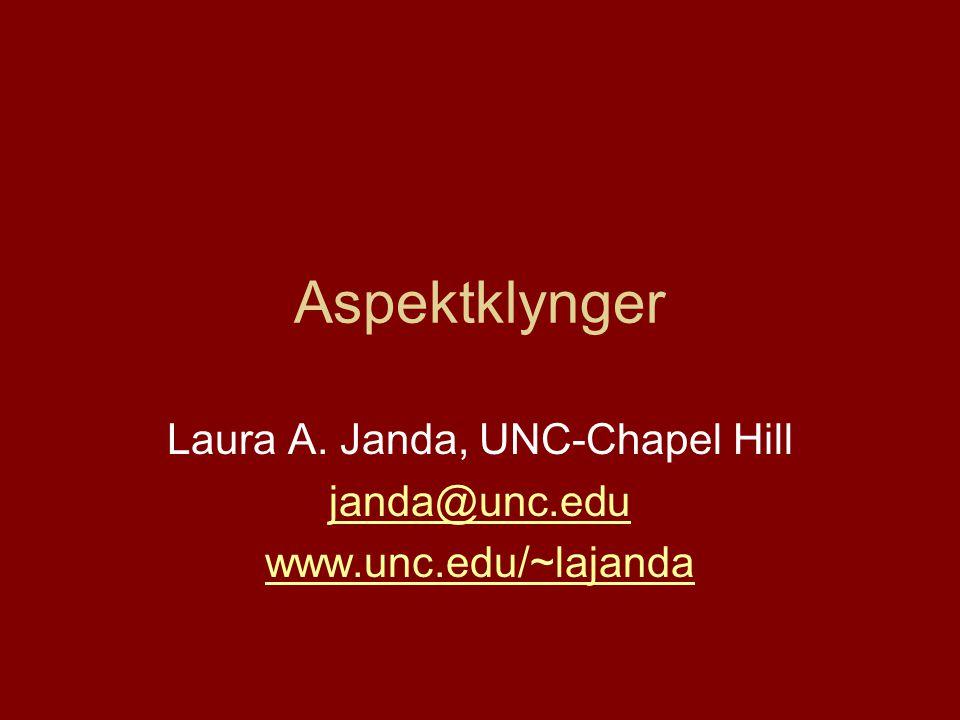 Aspektklynger Laura A. Janda, UNC-Chapel Hill janda@unc.edu www.unc.edu/~lajanda