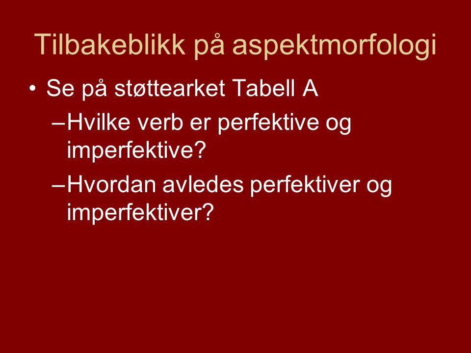 Tilbakeblikk på aspektmorfologi Se på støttearket Tabell A –Hvilke verb er perfektive og imperfektive.