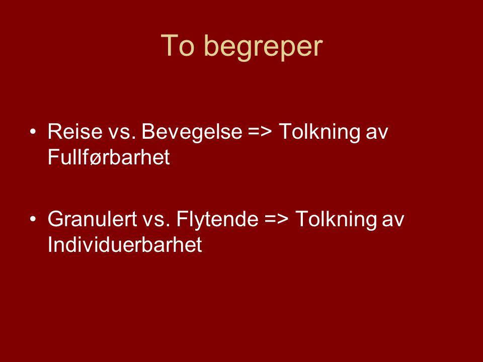 To begreper Reise vs. Bevegelse => Tolkning av Fullførbarhet Granulert vs.