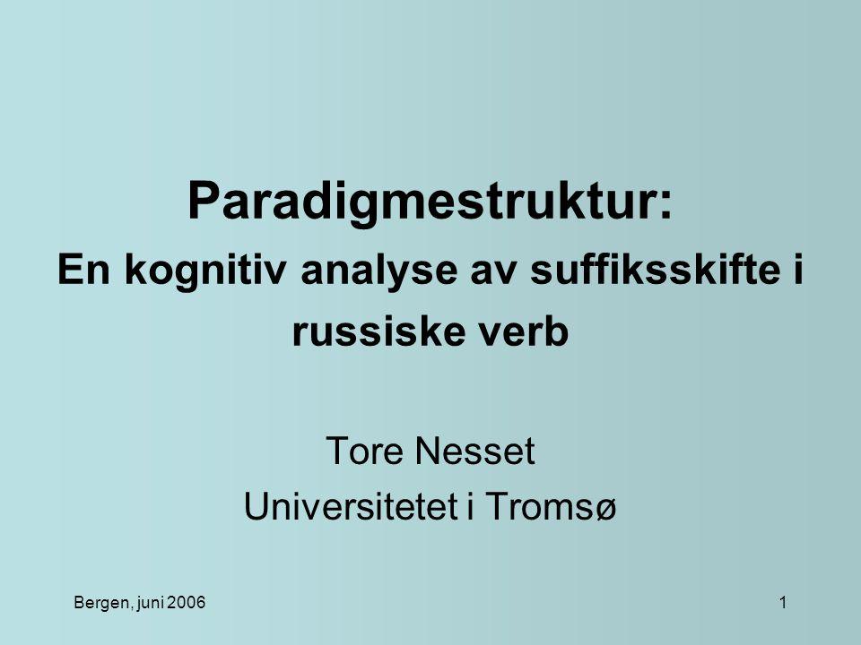 Bergen, juni 20061 Paradigmestruktur: En kognitiv analyse av suffiksskifte i russiske verb Tore Nesset Universitetet i Tromsø