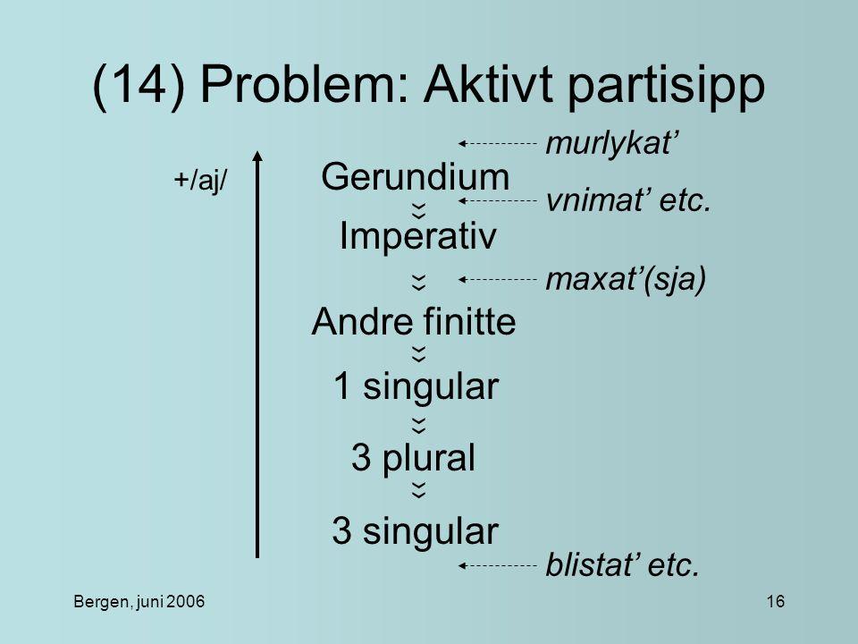 Bergen, juni 200616 (14) Problem: Aktivt partisipp Gerundium Imperativ Andre finitte 1 singular 3 plural 3 singular ›› +/aj/ murlykat' vnimat' etc.