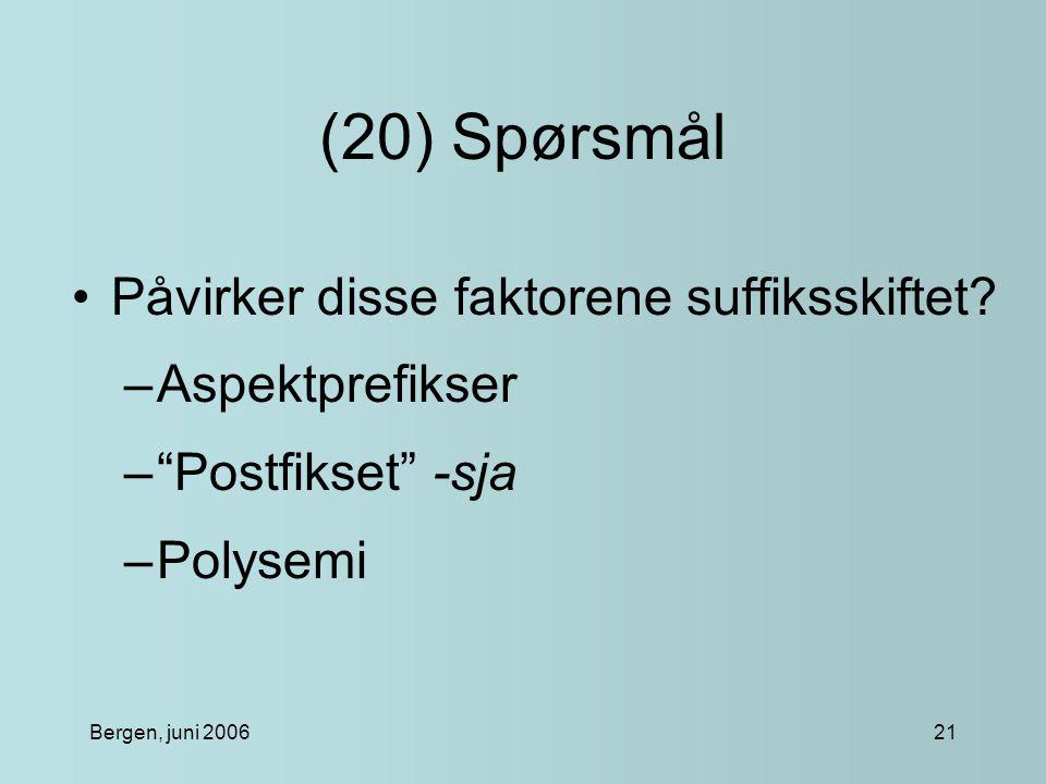Bergen, juni 200621 (20) Spørsmål Påvirker disse faktorene suffiksskiftet.