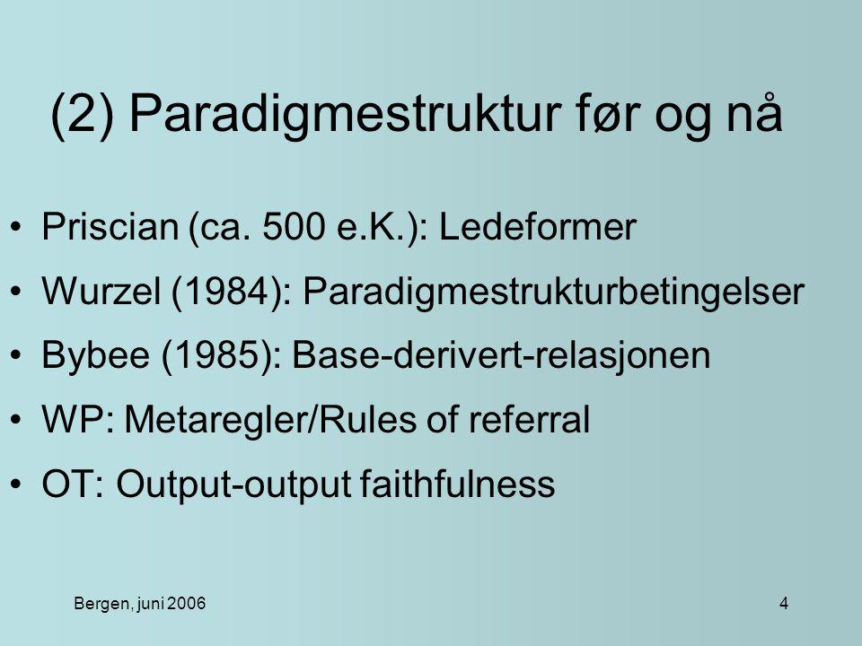 Bergen, juni 200615 (13) Hierarkiet og paradigmestruktur Hierarkiet bekrefter hypotesen om regularisering av perifere former.