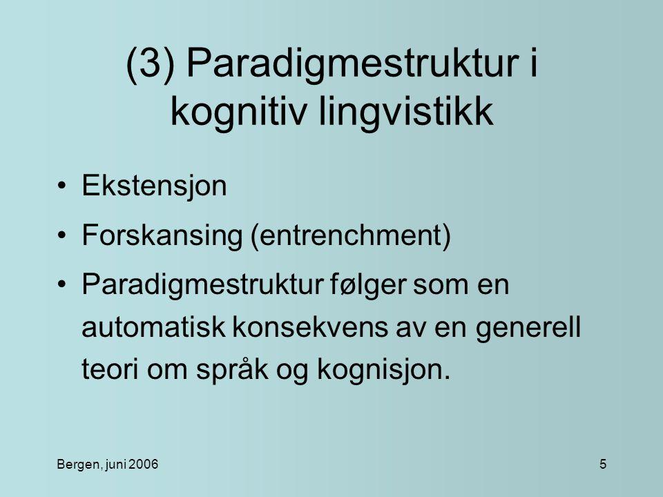 Bergen, juni 20065 (3) Paradigmestruktur i kognitiv lingvistikk Ekstensjon Forskansing (entrenchment) Paradigmestruktur følger som en automatisk konsekvens av en generell teori om språk og kognisjon.