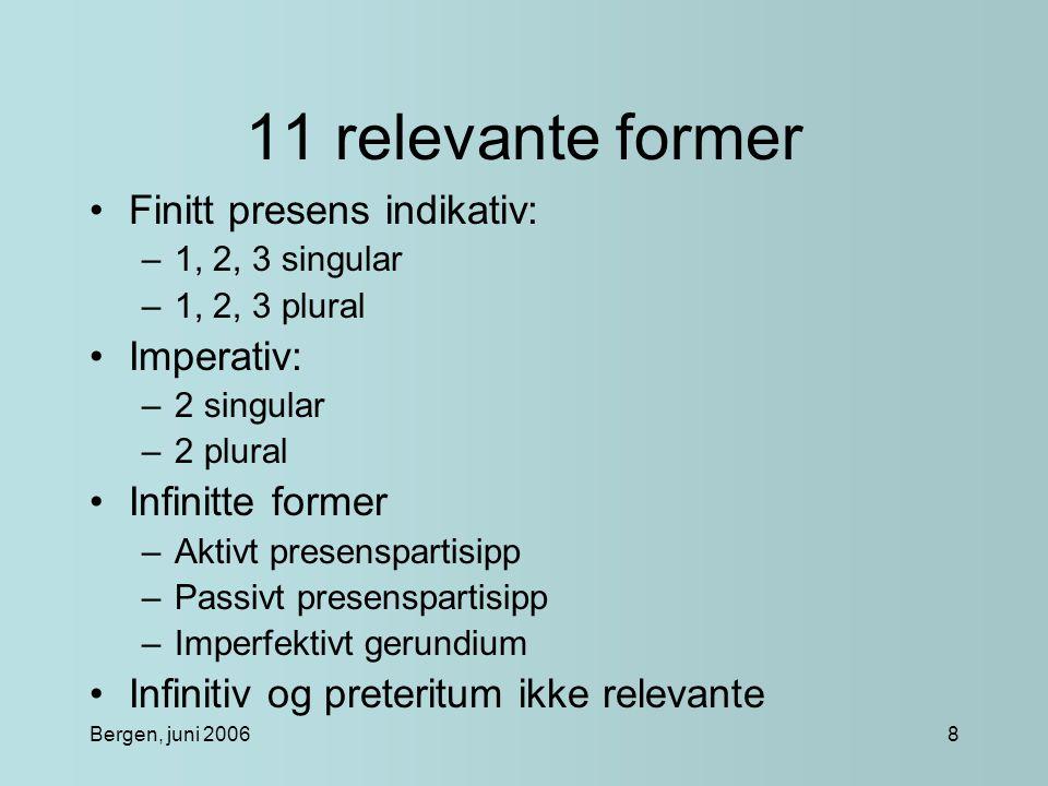 Bergen, juni 20068 11 relevante former Finitt presens indikativ: –1, 2, 3 singular –1, 2, 3 plural Imperativ: –2 singular –2 plural Infinitte former –Aktivt presenspartisipp –Passivt presenspartisipp –Imperfektivt gerundium Infinitiv og preteritum ikke relevante