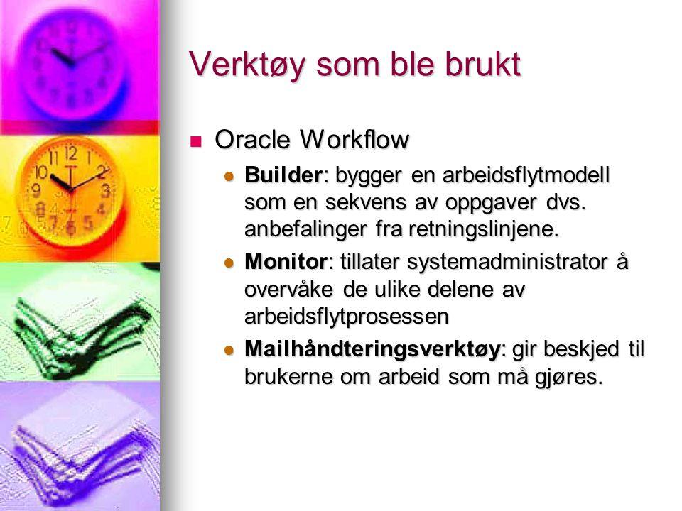 Verktøy som ble brukt Oracle Workflow Oracle Workflow Builder: bygger en arbeidsflytmodell som en sekvens av oppgaver dvs.