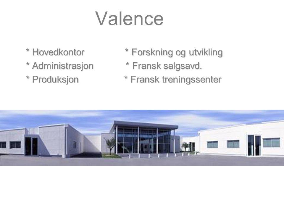 Valence * Hovedkontor * Forskning og utvikling * Administrasjon * Fransk salgsavd.