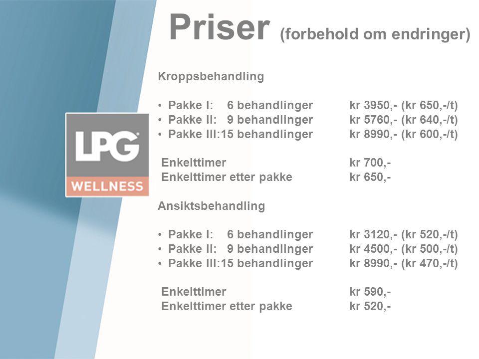 Priser (forbehold om endringer).