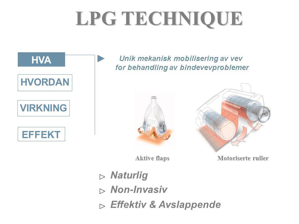 HVORDAN VIRKNING EFFEKT HVA LPG TECHNIQUE Aktive flaps Motoriserte ruller Unik mekanisk mobilisering av vev for behandling av bindevevproblemer Non-Invasiv Effektiv & Avslappende Naturlig