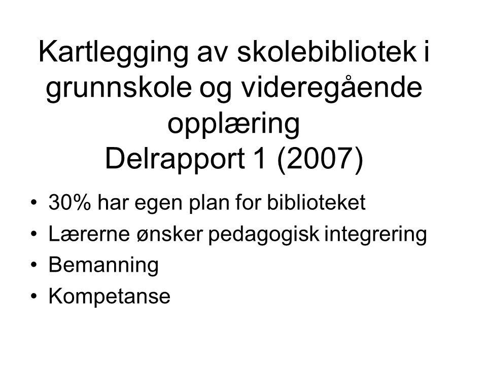 Kartlegging av skolebibliotek i grunnskole og videregående opplæring Delrapport 1 (2007) 30% har egen plan for biblioteket Lærerne ønsker pedagogisk i