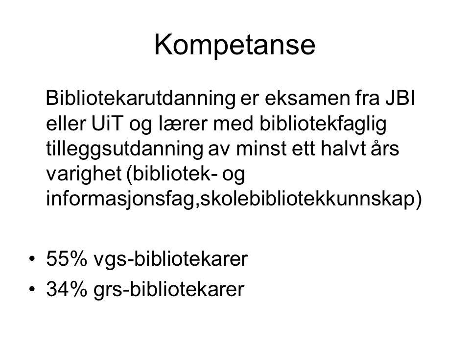 Kompetanse Bibliotekarutdanning er eksamen fra JBI eller UiT og lærer med bibliotekfaglig tilleggsutdanning av minst ett halvt års varighet (bibliotek