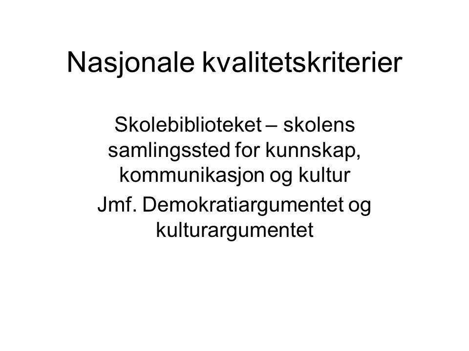 Nasjonale kvalitetskriterier Skolebiblioteket – skolens samlingssted for kunnskap, kommunikasjon og kultur Jmf.