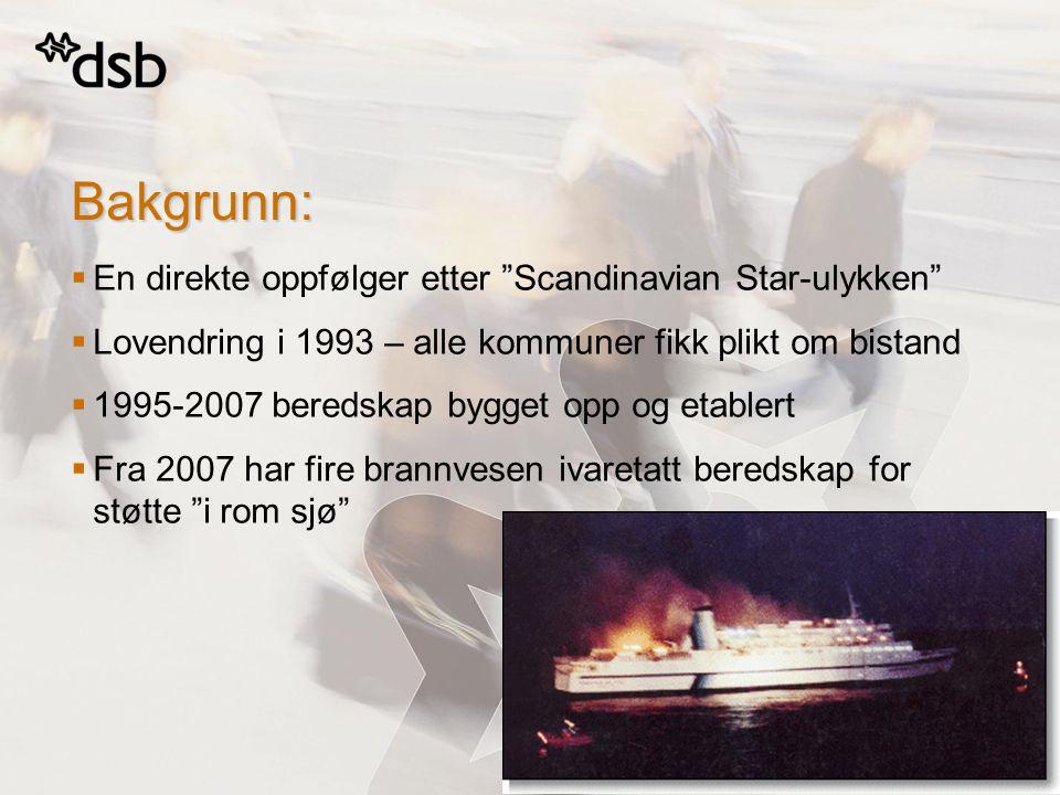   En direkte oppfølger etter Scandinavian Star-ulykken   Lovendring i 1993 – alle kommuner fikk plikt om bistand   1995-2007 beredskap bygget opp og etablert   Fra 2007 har fire brannvesen ivaretatt beredskap for støtte i rom sjø Bakgrunn: