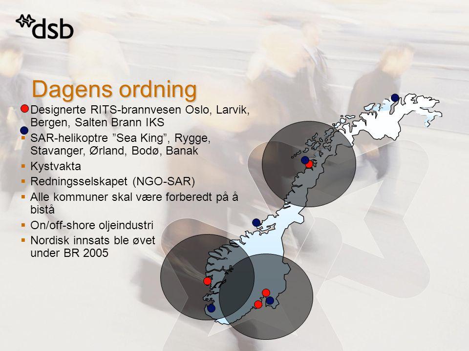 Dagens ordning  Designerte RITS-brannvesen Oslo, Larvik, Bergen, Salten Brann IKS  SAR-helikoptre Sea King , Rygge, Stavanger, Ørland, Bodø, Banak  Kystvakta  Redningsselskapet (NGO-SAR)  Alle kommuner skal være forberedt på å bistå  On/off-shore oljeindustri  Nordisk innsats ble øvet under BR 2005