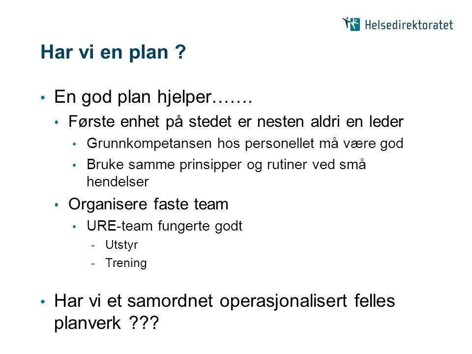 Har vi en plan .En god plan hjelper…….