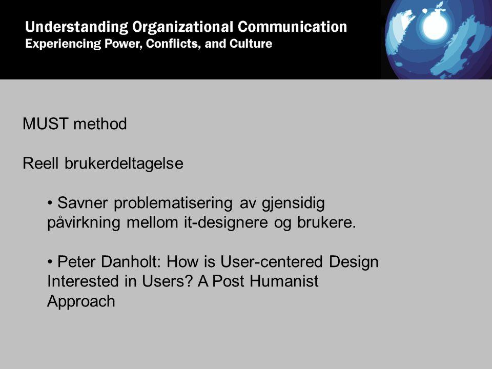 MUST method Reell brukerdeltagelse Savner problematisering av gjensidig påvirkning mellom it-designere og brukere. Peter Danholt: How is User-centered