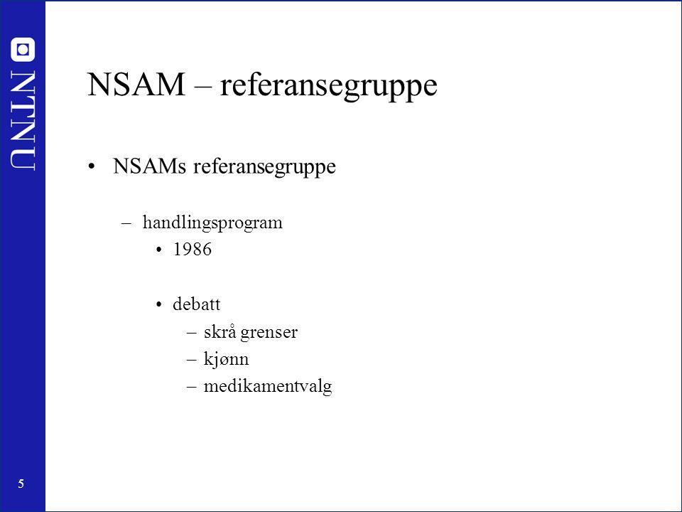 5 NSAM – referansegruppe NSAMs referansegruppe –handlingsprogram 1986 debatt –skrå grenser –kjønn –medikamentvalg