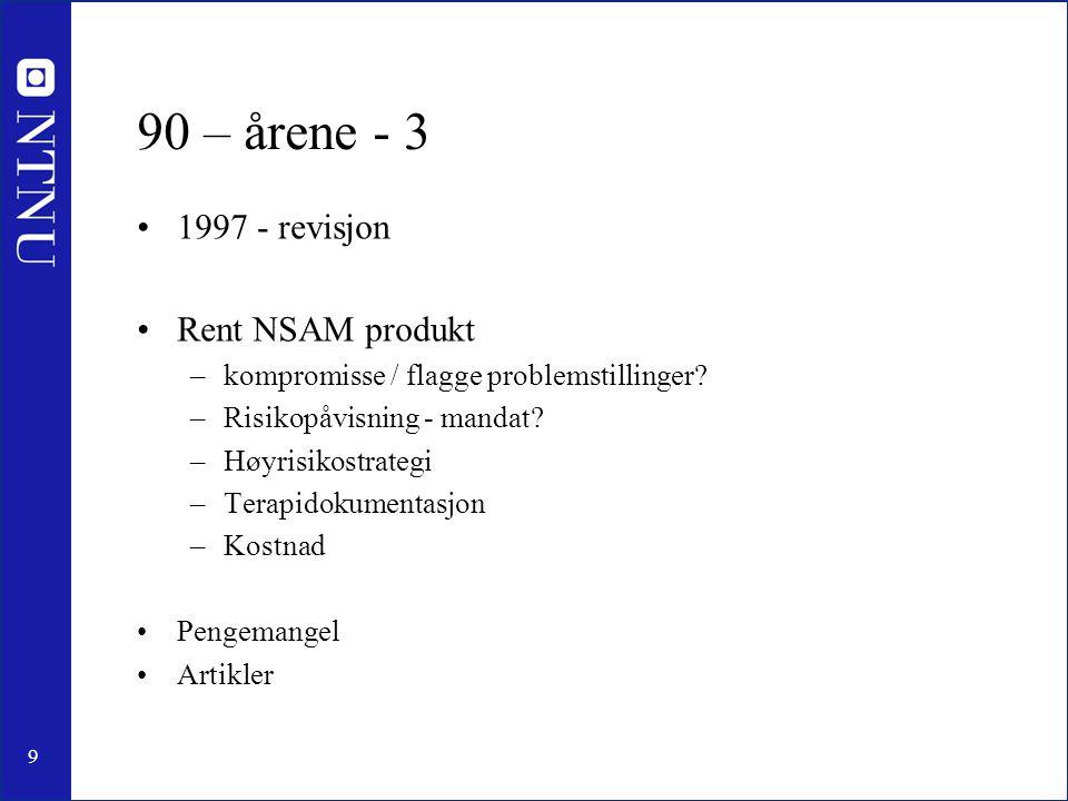 9 90 – årene - 3 1997 - revisjon Rent NSAM produkt –kompromisse / flagge problemstillinger.