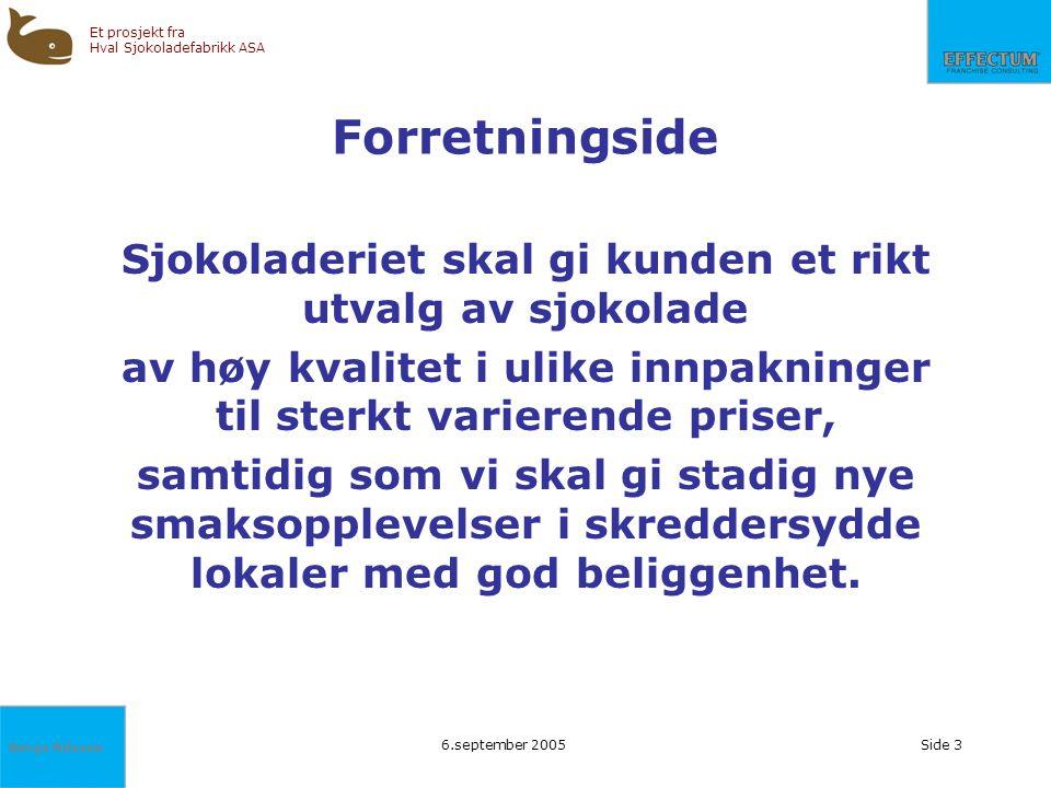Børge Nilssen Et prosjekt fra Hval Sjokoladefabrikk ASA 6.september 2005Side 3 Forretningside Sjokoladeriet skal gi kunden et rikt utvalg av sjokolade