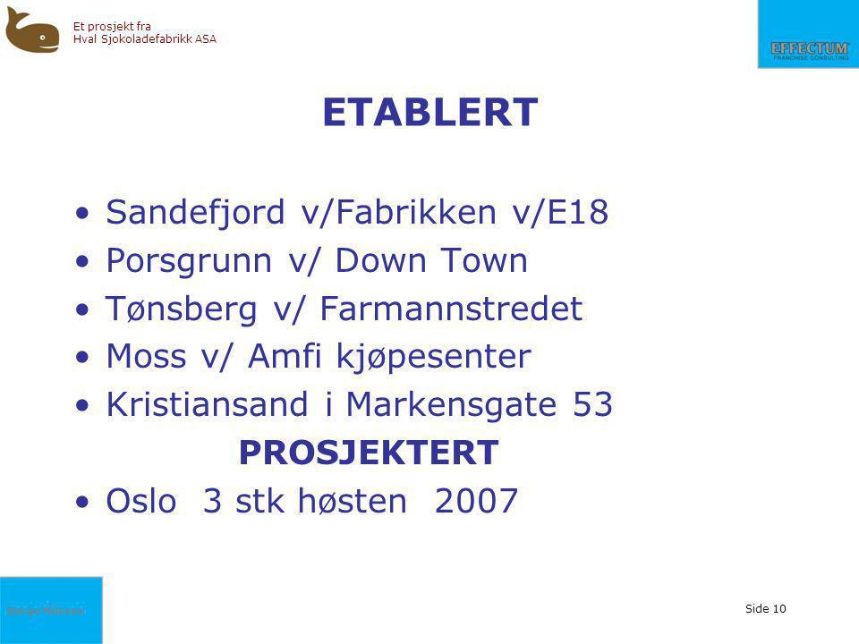 Børge Nilssen Et prosjekt fra Hval Sjokoladefabrikk ASA Side 10 ETABLERT Sandefjord v/Fabrikken v/E18 Porsgrunn v/ Down Town Tønsberg v/ Farmannstrede