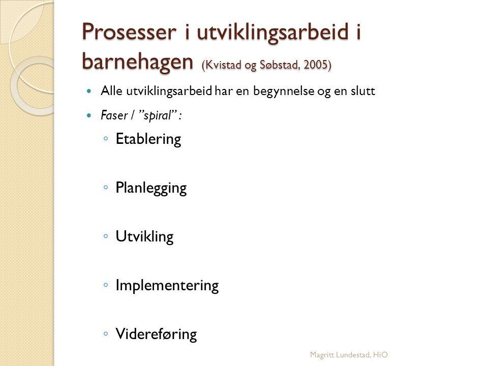 """Prosesser i utviklingsarbeid i barnehagen (Kvistad og Søbstad, 2005) Alle utviklingsarbeid har en begynnelse og en slutt Faser / """"spiral"""": ◦ Etablerin"""
