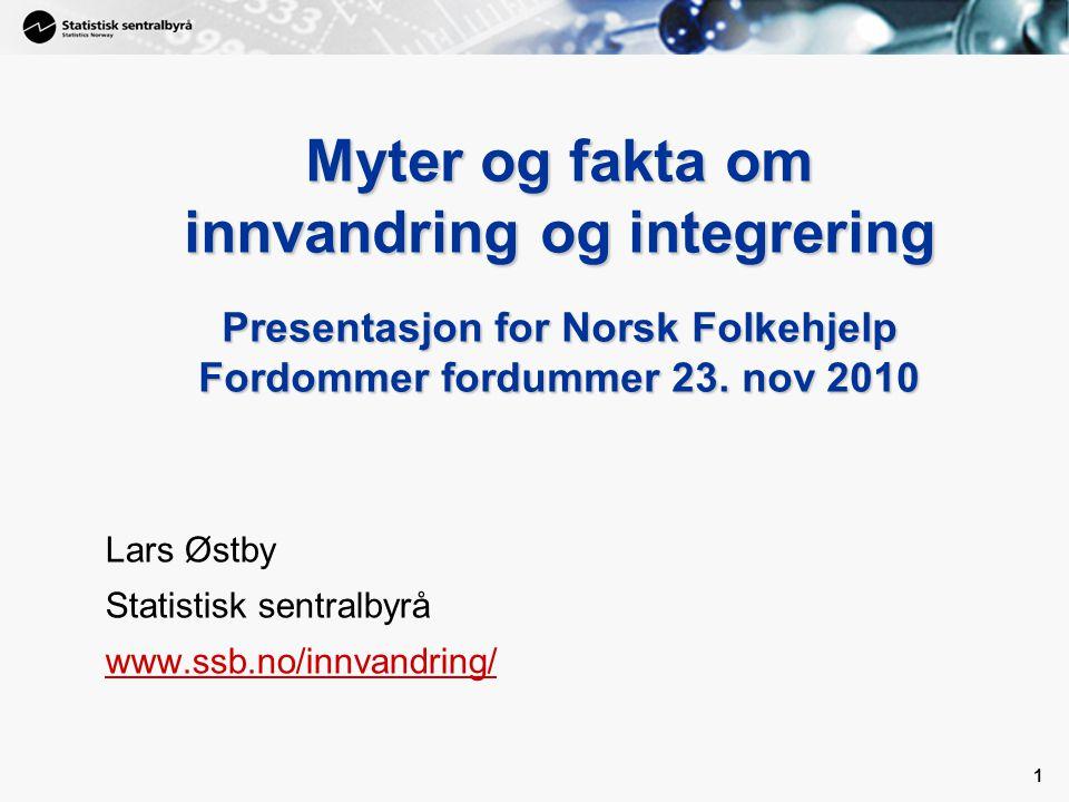 1 1 Myter og fakta om innvandring og integrering Presentasjon for Norsk Folkehjelp Fordommer fordummer 23.