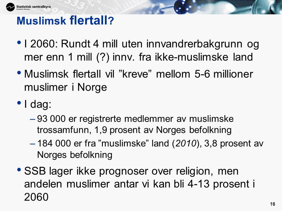 16 I 2060: Rundt 4 mill uten innvandrerbakgrunn og mer enn 1 mill (?) innv.