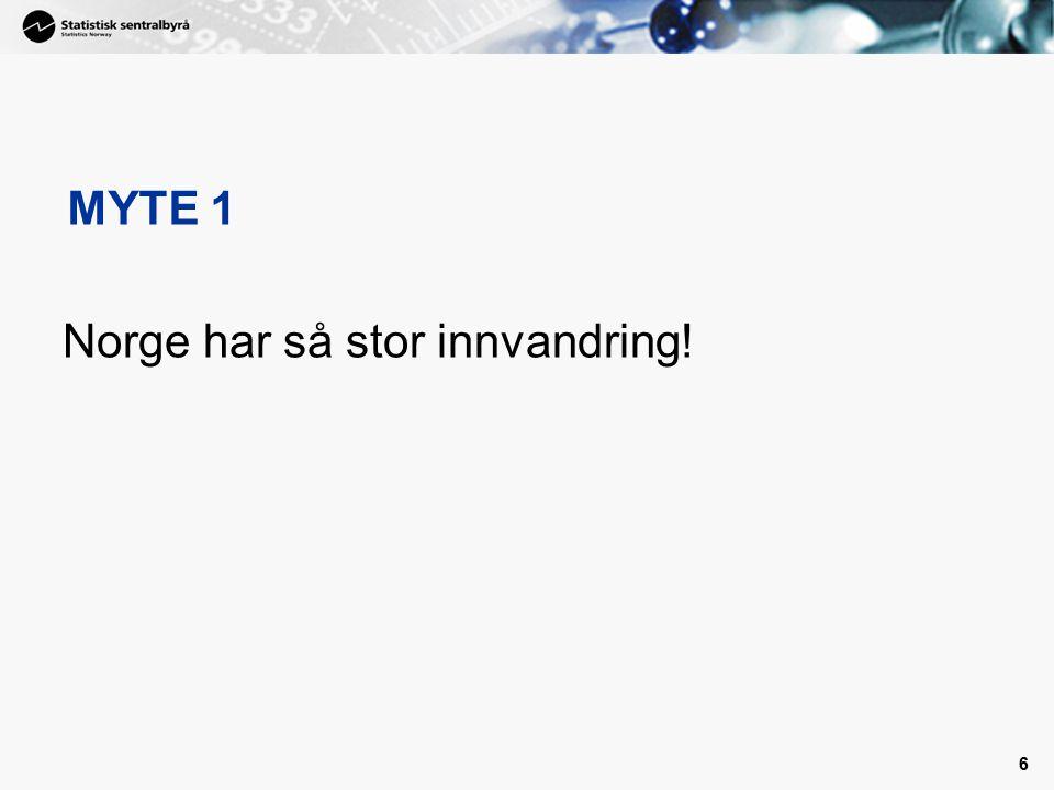 47 Andel sysselsatte innvandrere Norge og Danmark, 4. kvartal 2007