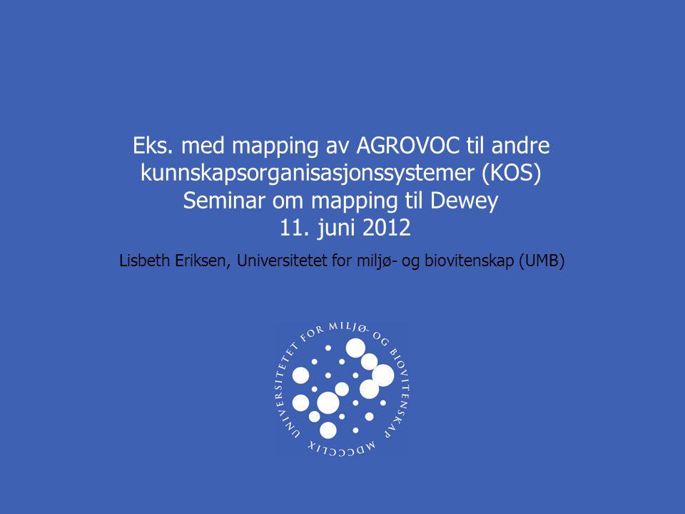 Eks. med mapping av AGROVOC til andre kunnskapsorganisasjonssystemer (KOS) Seminar om mapping til Dewey 11. juni 2012 Lisbeth Eriksen, Universitetet f
