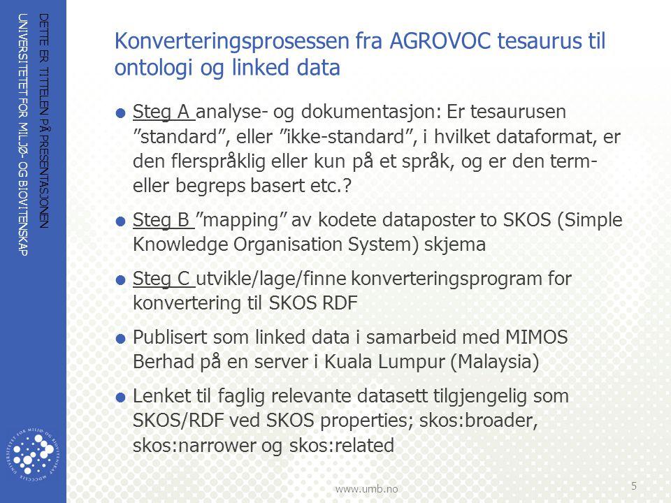 UNIVERSITETET FOR MILJØ- OG BIOVITENSKAP www.umb.no Konverteringsprosessen fra AGROVOC tesaurus til ontologi og linked data  Steg A analyse- og dokum