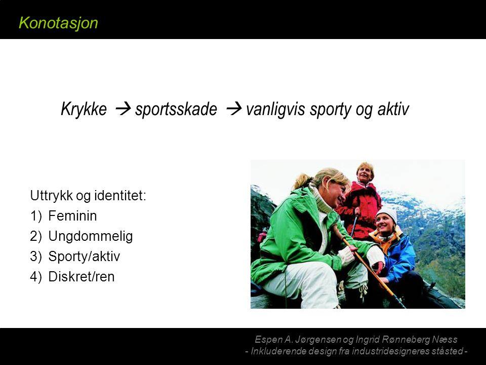 Espen A. Jørgensen og Ingrid Rønneberg Næss - Inkluderende design fra industridesigneres ståsted - Konotasjon Krykke  sportsskade  vanligvis sporty
