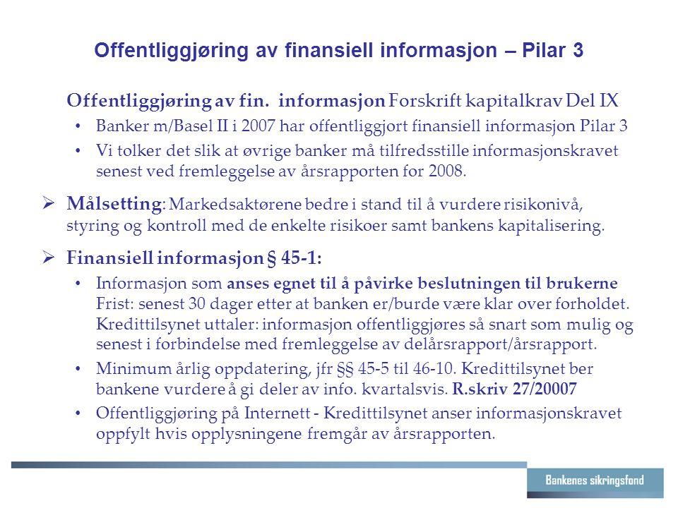 Offentliggjøring av finansiell informasjon – Pilar 3 Offentliggjøring av fin.