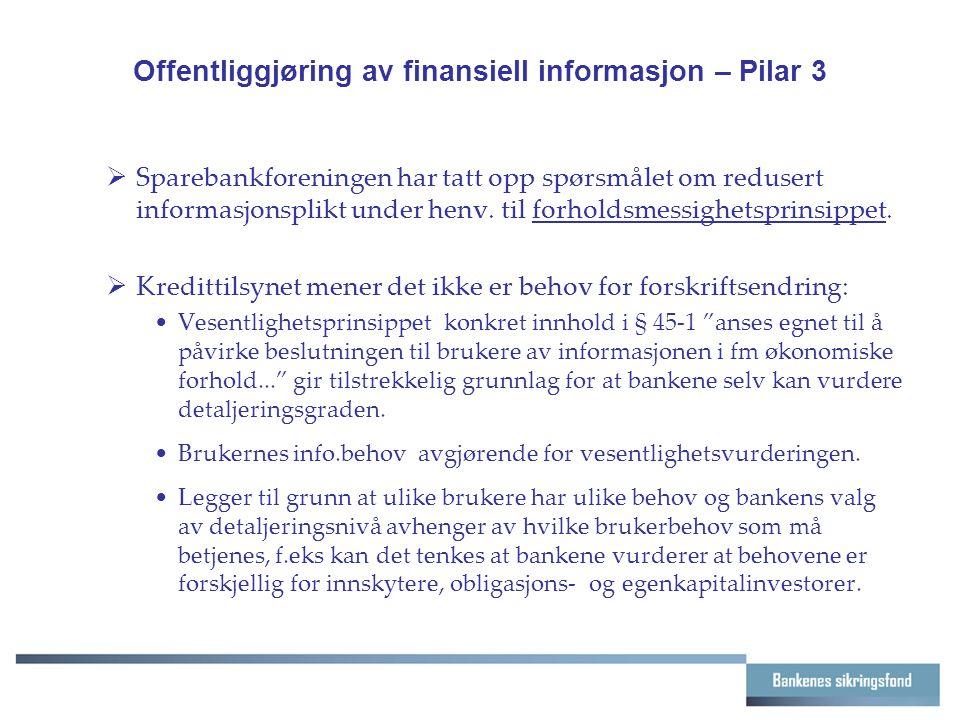 Offentliggjøring av finansiell informasjon – Pilar 3  Sparebankforeningen har tatt opp spørsmålet om redusert informasjonsplikt under henv.