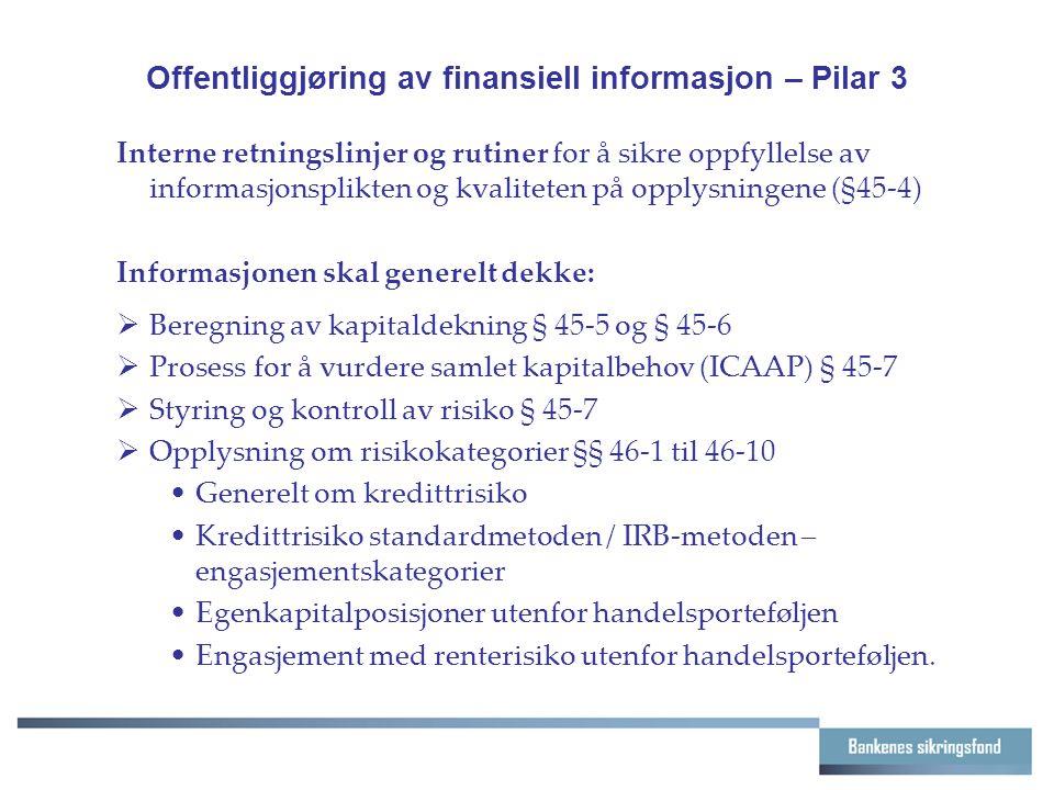 Offentliggjøring av finansiell informasjon – Pilar 3 Interne retningslinjer og rutiner for å sikre oppfyllelse av informasjonsplikten og kvaliteten på opplysningene (§45-4) Informasjonen skal generelt dekke:  Beregning av kapitaldekning § 45-5 og § 45-6  Prosess for å vurdere samlet kapitalbehov (ICAAP) § 45-7  Styring og kontroll av risiko § 45-7  Opplysning om risikokategorier §§ 46-1 til 46-10 Generelt om kredittrisiko Kredittrisiko standardmetoden / IRB-metoden – engasjementskategorier Egenkapitalposisjoner utenfor handelsporteføljen Engasjement med renterisiko utenfor handelsporteføljen.