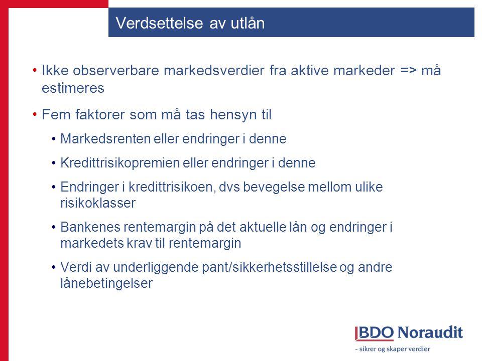 Verdsettelse av utlån Ikke observerbare markedsverdier fra aktive markeder => må estimeres Fem faktorer som må tas hensyn til Markedsrenten eller endr