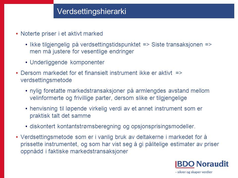 Verdsettingshierarki Noterte priser i et aktivt marked Ikke tilgjengelig på verdsettingstidspunktet => Siste transaksjonen => men må justere for vesen