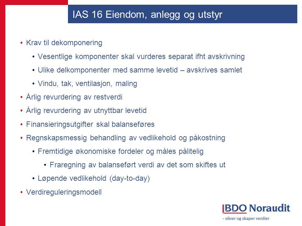 IAS 16 Eiendom, anlegg og utstyr Krav til dekomponering Vesentlige komponenter skal vurderes separat ifht avskrivning Ulike delkomponenter med samme l
