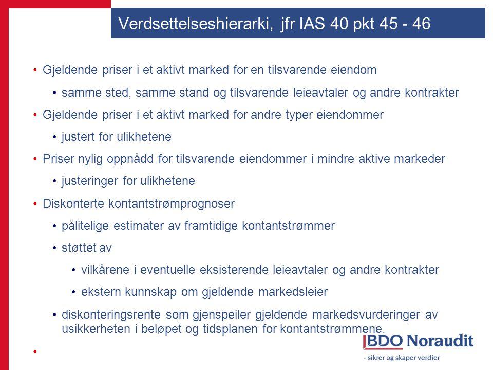 Verdsettelseshierarki, jfr IAS 40 pkt 45 - 46 Gjeldende priser i et aktivt marked for en tilsvarende eiendom samme sted, samme stand og tilsvarende le