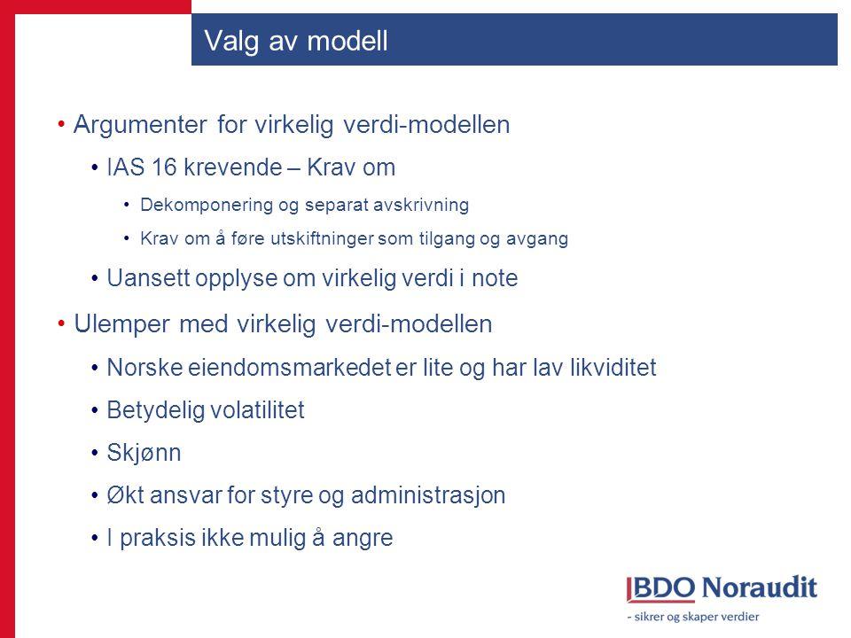 Valg av modell Argumenter for virkelig verdi-modellen IAS 16 krevende – Krav om Dekomponering og separat avskrivning Krav om å føre utskiftninger som