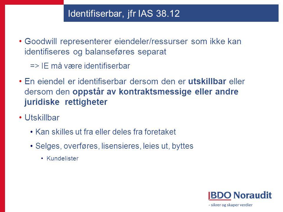 Identifiserbar, jfr IAS 38.12 Goodwill representerer eiendeler/ressurser som ikke kan identifiseres og balanseføres separat => IE må være identifiserb