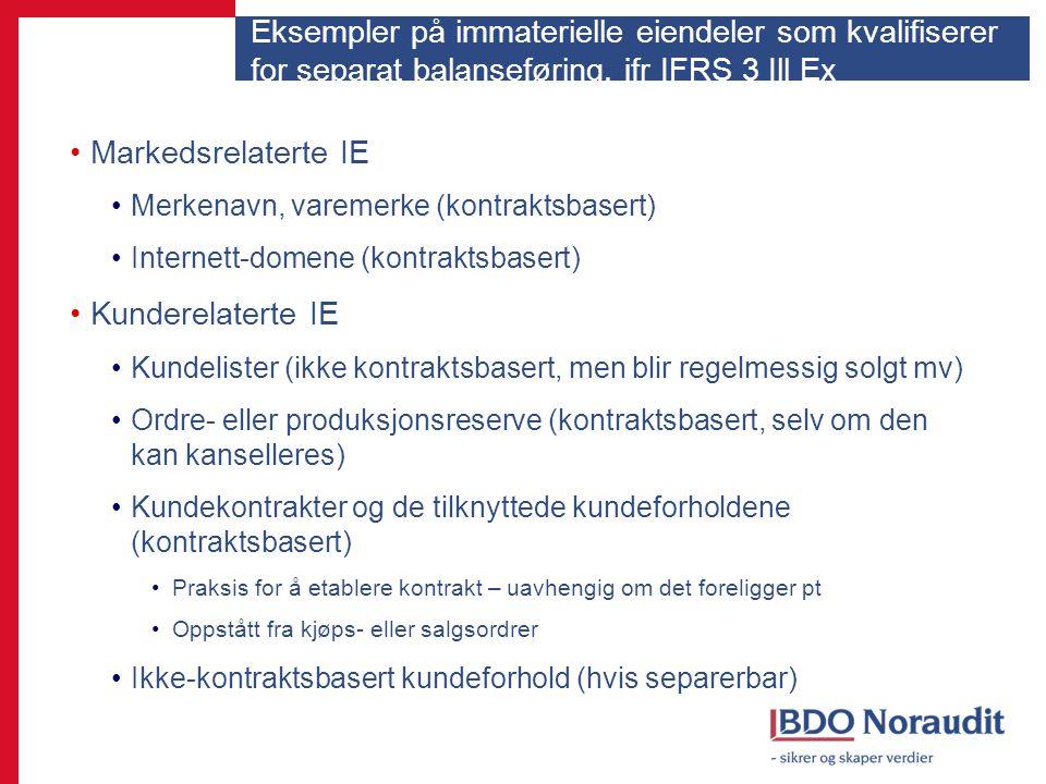 Eksempler på immaterielle eiendeler som kvalifiserer for separat balanseføring, jfr IFRS 3 Ill Ex Markedsrelaterte IE Merkenavn, varemerke (kontraktsb