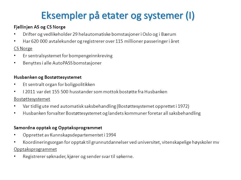 Eksempler på etater og systemer (I) Fjellinjen AS og CS Norge Drifter og vedlikeholder 29 helautomatiske bomstasjoner i Oslo og i Bærum Har 620 000 av