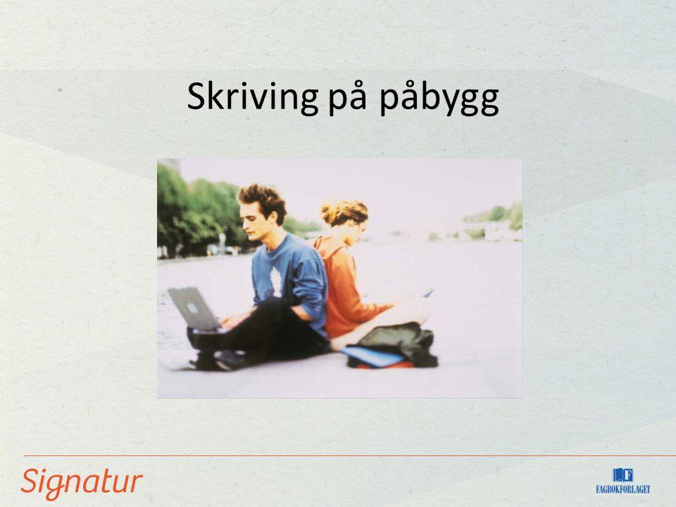 Skriving på påbygg Sette inn illustrasjon fra boka