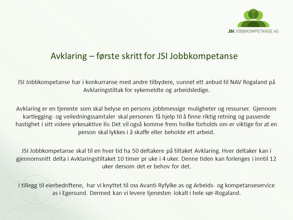 JSI Jobbkompetanse har i konkurranse med andre tilbydere, vunnet ett anbud til NAV Rogaland på Avklaringstiltak for sykemeldte og arbeidsledige. Avkla