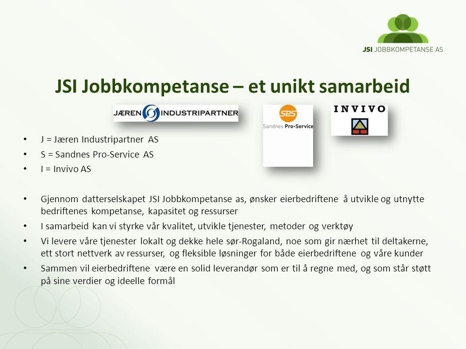 JSI Jobbkompetanse – et unikt samarbeid J = Jæren Industripartner AS S = Sandnes Pro-Service AS I = Invivo AS Gjennom datterselskapet JSI Jobbkompetan