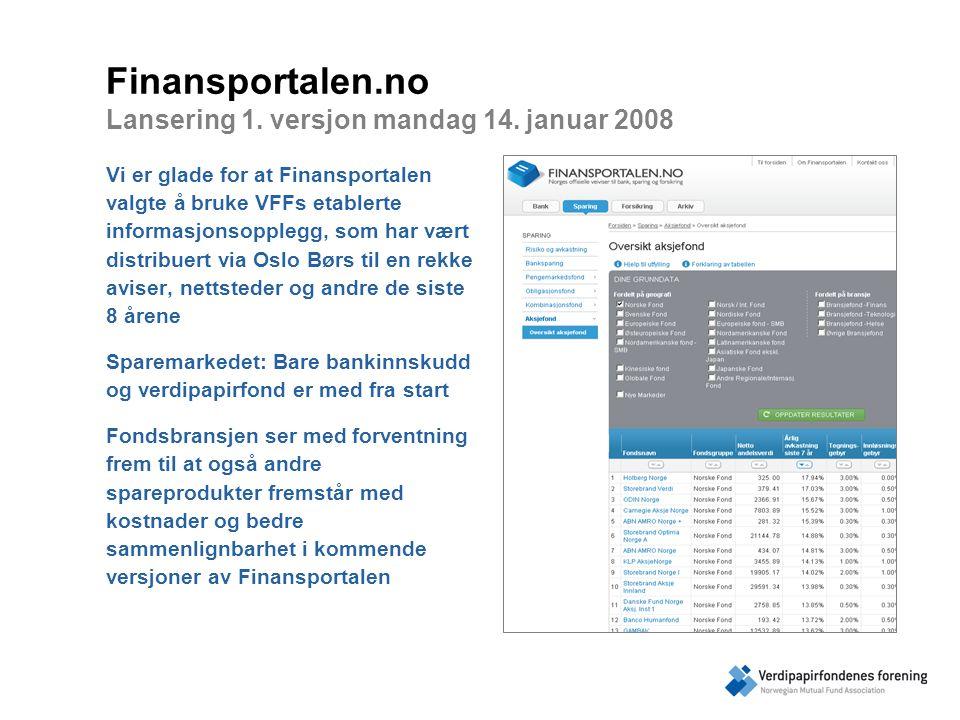 Finansportalen.no Lansering 1. versjon mandag 14.